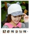 New Design Rabbit Fur Baseball Cap Women's Cat Ears Peaked Cap Leopard Print Rabbit Fur Hat Women Warm Winter Cap