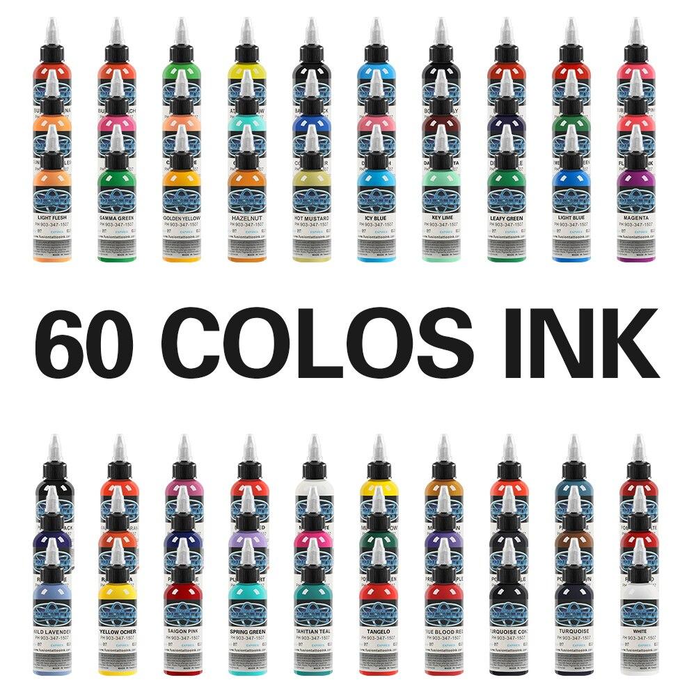 30 ml/Bouteille De Tatouage Encre De Maquillage Permanent De Tatouage Pigments Pour Corps Couleur Peinture De Tatouage Fournitures 60 Couleurs