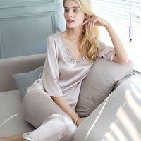 Роскошная Коллекция 100% года, пижамные комплекты из натурального шелка, Женский костюм из 2 предметов с короткими рукавами и цветочным рисун