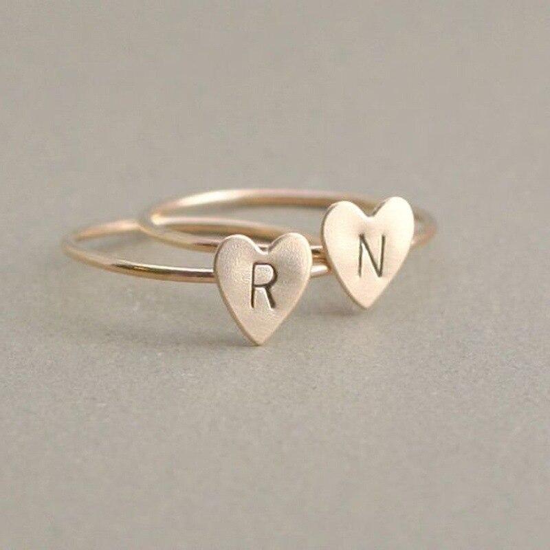 Персонализированные ручные штампованные A-Z, 26 букв, начальные крошечные кольца в виде сердца для женщин, золотые кольца на палец, ювелирные изделия