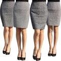 Moda outono 2016 novos das mulheres plus size saia cintura alta trabalho fino lápis saia garfo aberto sexy senhora do escritório saias feminino S-4XL