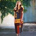 Maxi Dresses 2016 Summer Dress Print Cotton Linen Robe Vestidos Long Loose Casual Plus Size Dress Patchwork Dresses