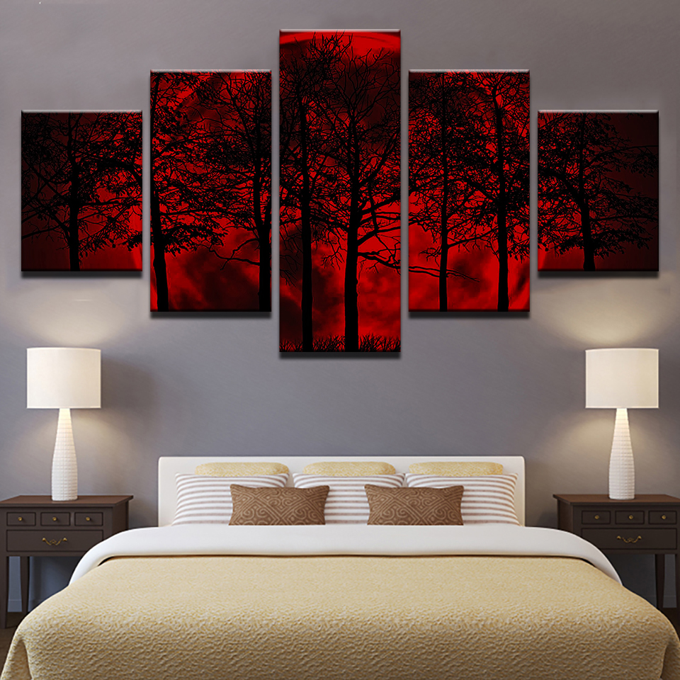 d92b4d46c55 Canvas Painting Home Decor HD Prints Tree Poster 5 Piece Red Moon Sky Psychedelic  Forest Pictures Living Room Wall Art Framework