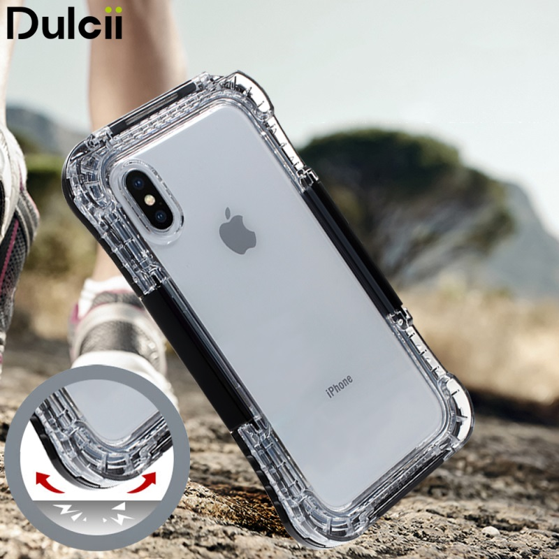 DULCII for iPhone X , 10 (Ten) Waterproof Case IP68 10M Underwater Coque for Apple X Dirt/Dust/Snow Proof Cover Shells - Black