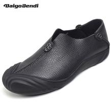 BAIGOBENDI Mens Soft Genuine Leather Litchi Grain Slip On Oxfords Round Toe Business Man Casual Office Autumn Leisure Shoes