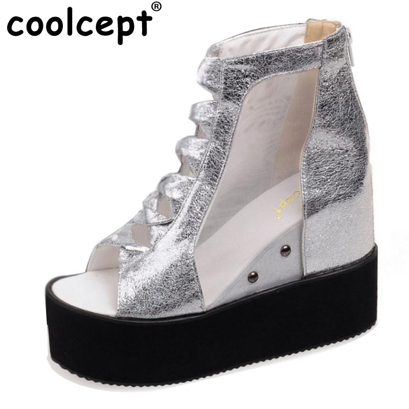 Coolcept Platform Gladiator Sandals Pop Mid-Calf Boots Summer Casual Cut-Out Height Increasing Women Shoes Zapatos Size 32-43 women sandals 2017 summer style shoes woman wedges height increasing fashion gladiator platform female ladies shoes casual