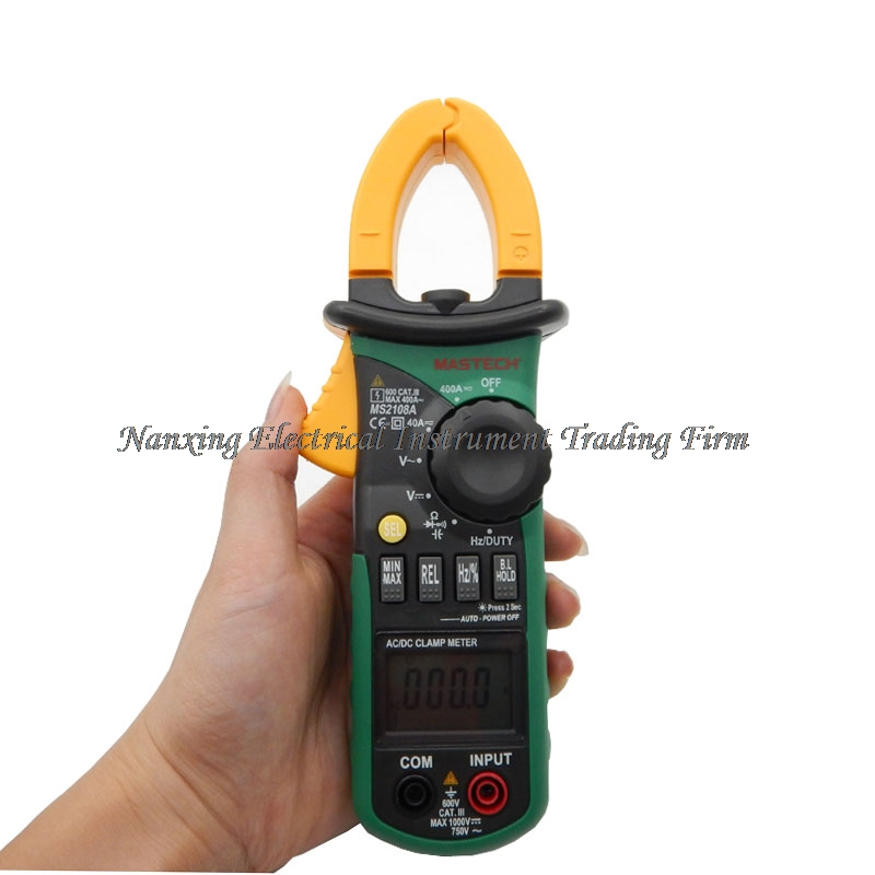 Mastech MS2108A Digital Clamp Meter Auto range Multimeter AC 400A Current Voltage Frequency clamp MultiMeter Tester Backlight my68 handheld auto range digital multimeter dmm w capacitance frequency