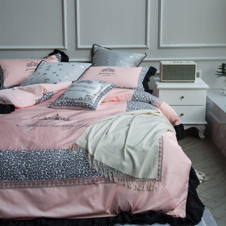 Vs pink bedding sets - 100 Cotton Pink Bedding Set Leopard Black Ruffle Duvet Cover Bed Linen Pillowcase 4pcs Bedding