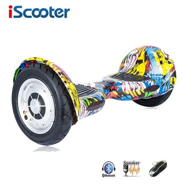 Iscooter ХОВЕРБОРДА 10 дюймов Bluetooth 2 колеса балансируя Электрический скутер два колеса 10 ''с дистанционным ключ и LED скейтборд