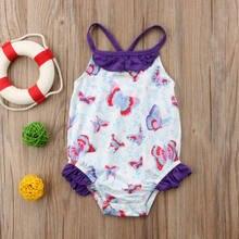 2018 Crianças Novas do Verão Borboleta Meninas Do Bebê Swimwear Crianças  Swimwear One Piece Floral Roxo Bonito Maiô Maiô 87f37457760