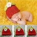Сладкий клубника ребенка шляпу шапки фотография реквизит малышей новорожденного ребенка фото опоры ручной шляпа с цветком