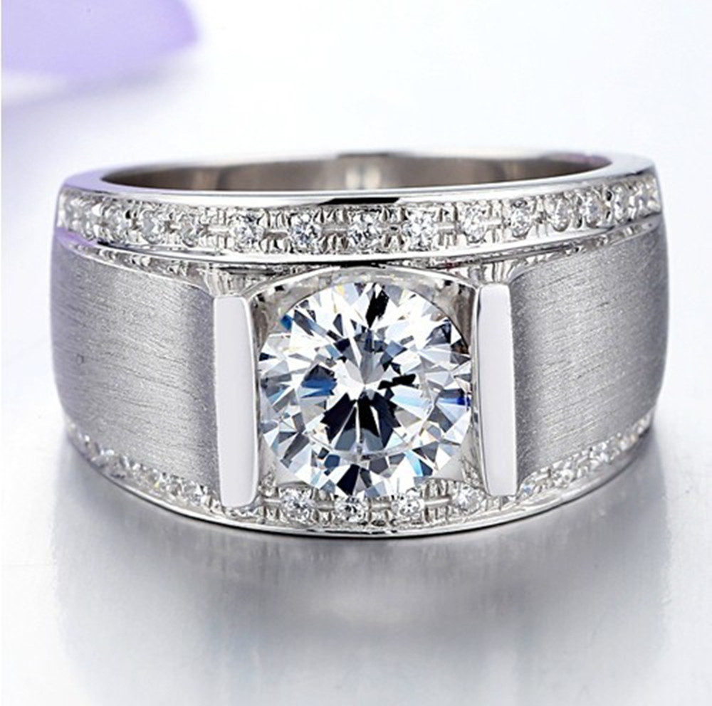 1 CT Handsome Man ring Synthetic Diamond Engagement Sterling ...