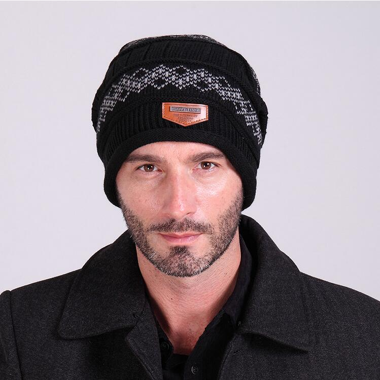 2017 Brand Men Beanies Knitting wool Men's Winter Hat Caps Skullies Bonnet warm Hats For Male label style outdoor wool felt cowboy hat stetson black 50cm
