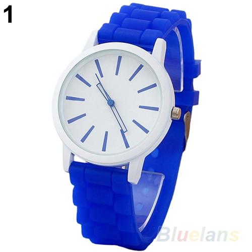 Women Geneva Silicone Rubber Jelly Gel Quartz Analog Sports Wrist Watch 0VJS