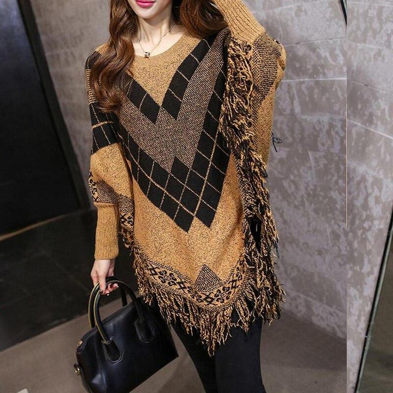 Autumn Winter Pullovers Women Sweaters Coat Tassel Cloak Knitted Sweater Female Long Batwing Sleeve Jumper Tops Ladies Oversize