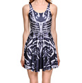 NEW 1239 Sexy Girl Women Summer Skull bone skeleton Nightmare 3D Prints Reversible sleeveless Skater Pleated Dress Plus size