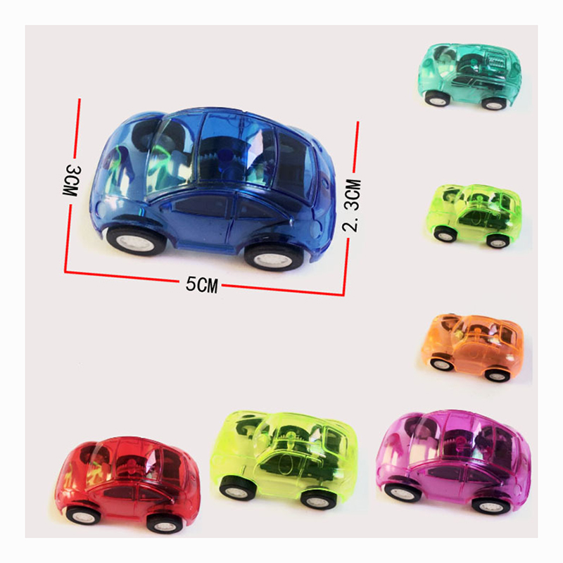 50pcs/lot Mini Transparent Car Styling Model Plastic Pull Back Diecast Car Toys for Children Kids Baby Vehicle Toys