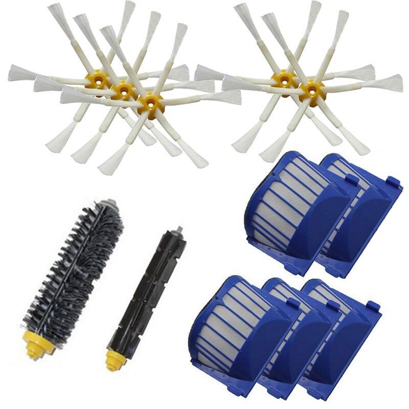 Acheter 1 set Batteur Brosse + 5 Aero Vac Filtre + 5 Brosse latérale kit pour iRobot Roomba 600 Série 600 610 620 625 630 650 660 remplacement de beater brush fiable fournisseurs