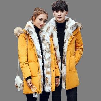 5XL White Duck Down Jacket 2019 Women Winter Goose Feather Coat Long Raccoon Fur Parka Warm Rabbit Plus Size Outerwear WJM19 3