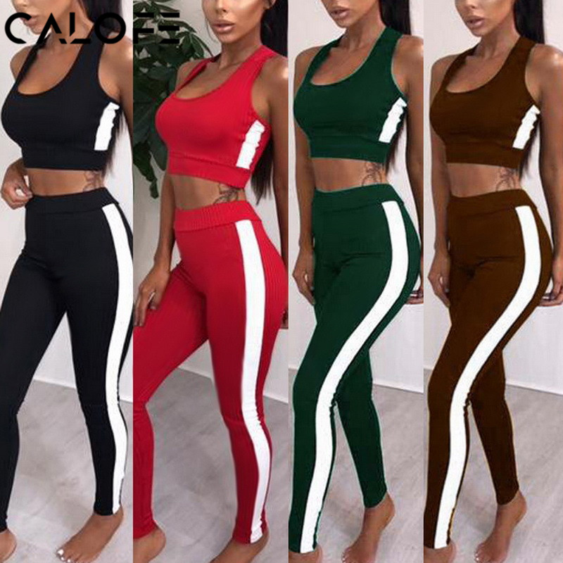 2018 Women's Tracksuit Tights Sportswear Fitness Yoga Suit Sport set For Female Gym Clothing Workout Two Piece Jumpsuit Crop top