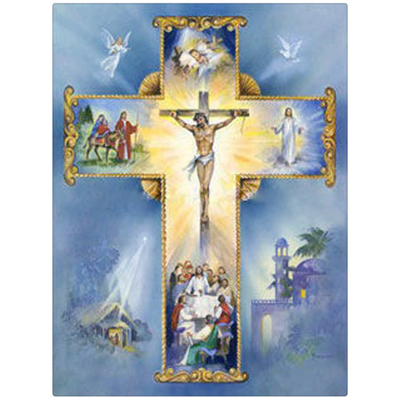 Mosaic DIY diamond Painting crystal angel and Jesus Cross Stitch Decorative diamond embroidery Square Rhinestone CX380