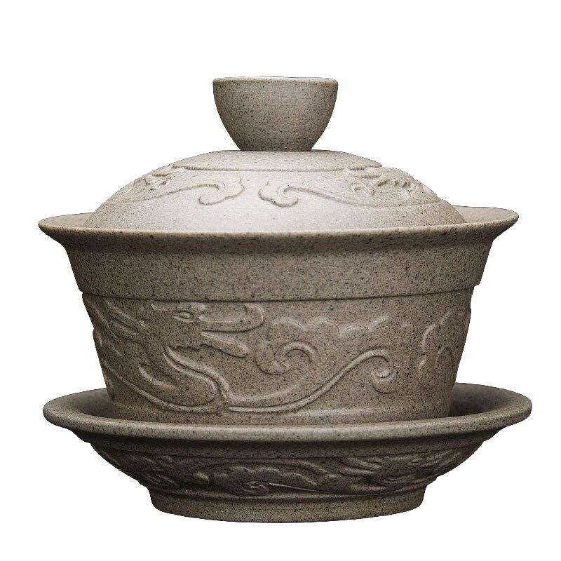Handmade Dragon Porcelan Tureen Gong Fu Tea Bowl 3
