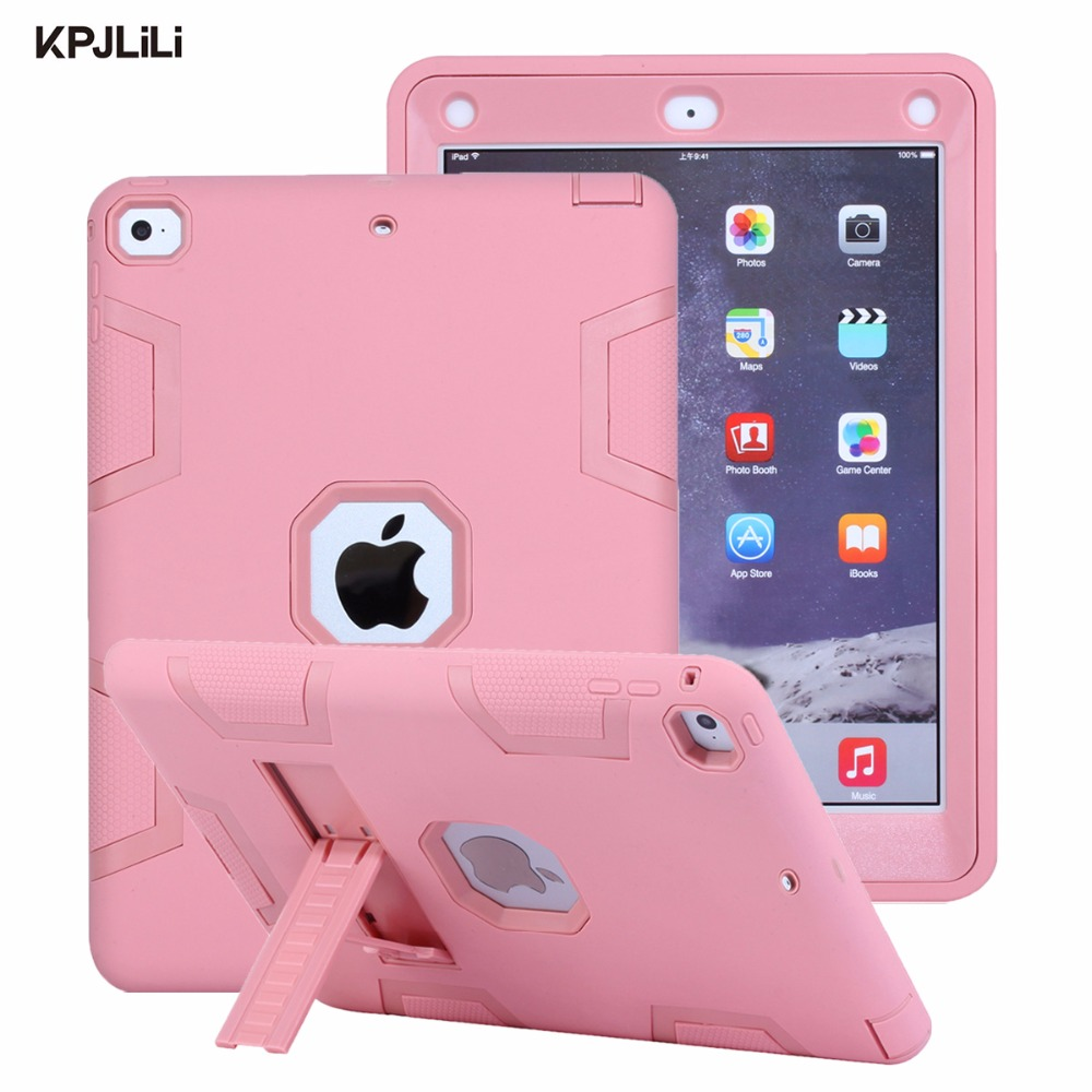 Shockproof Case For Apple IPad 9.7 Inch 2017 2018 New Kickstand Kids Silicone Hard Full Body Protective Case Cover For IPad 2018(China)