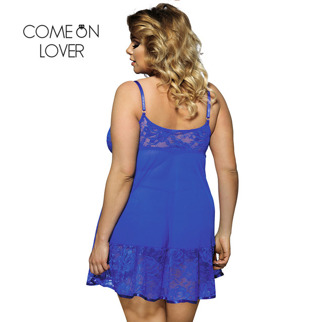 Comeonlover Sexy Nightdress Floral Soft Lace Apron Sexy Chemise With Thong RI80158 Blue Plus Size Babydoll Lingerie Sexy Dessous 1