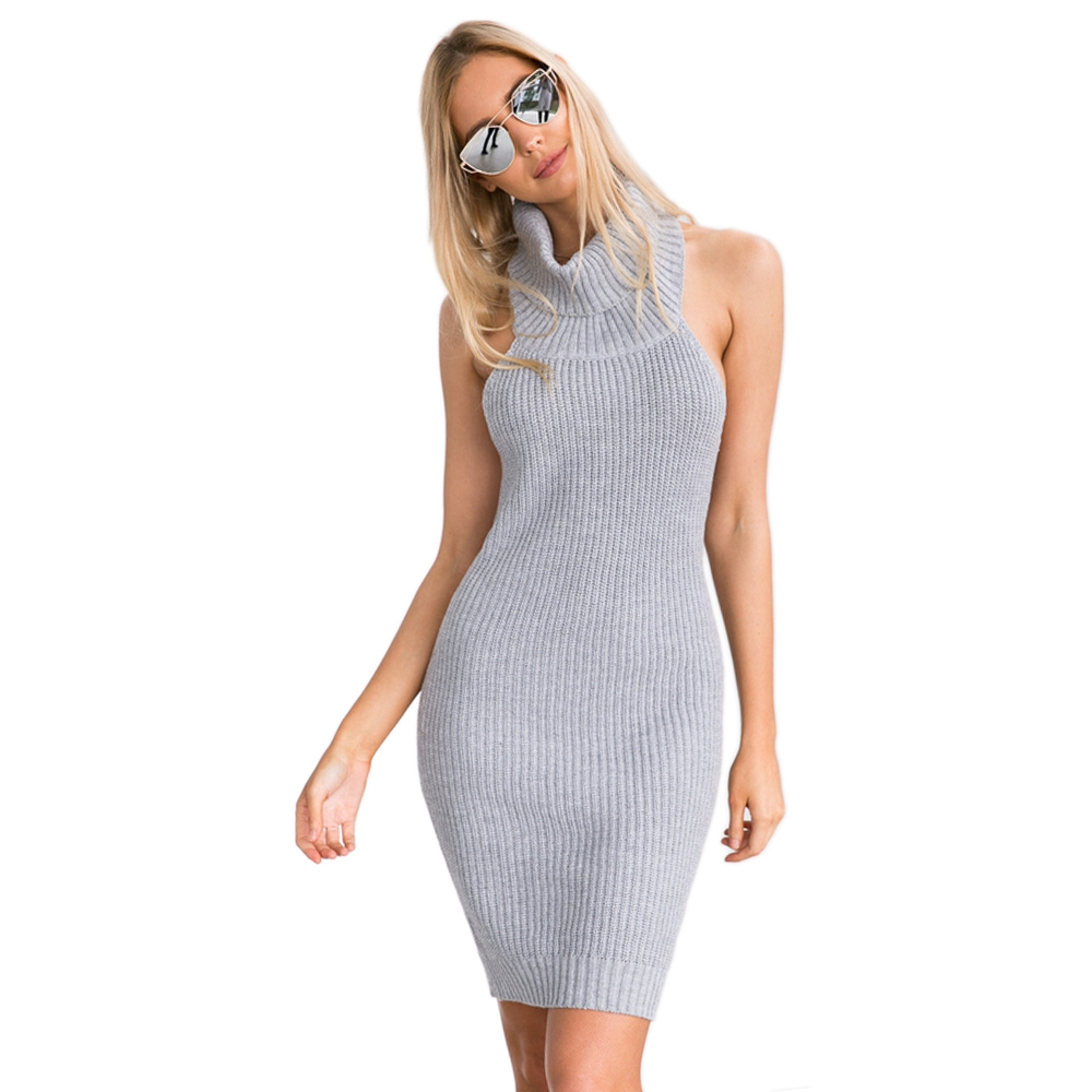 Autumn Winter Dresess 2017 New Sexy Turtleneck Backless Gray Color Knitted Mini Sweater Dress for Women Warm Party Bandage Dress
