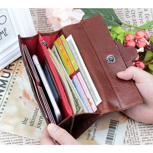 Image 2 - COMFORSKIN Premium Genuine Oil Waxing Leather Unique Embossed Floral Woman Purse Famous Brand Long Cover Style Womens Wallets