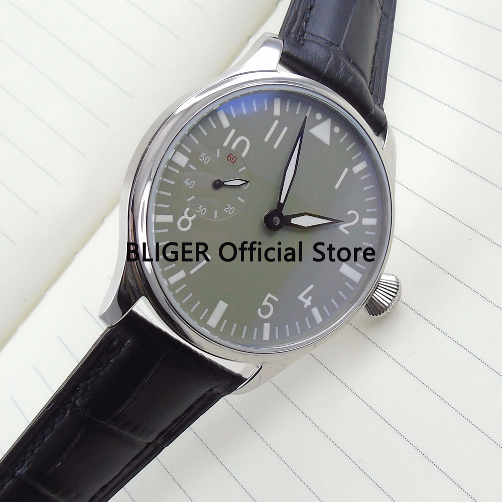 Causal 44mm Grey Sterile Dial Black Leather Strap Luminous Pointer 17 Jewels 6497 Hand Winding Movement Mens Watch P11Causal 44mm Grey Sterile Dial Black Leather Strap Luminous Pointer 17 Jewels 6497 Hand Winding Movement Mens Watch P11