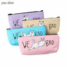 1Pcs/lot Korean Version Stationery Large Capacity Pencil Case Canvas Pen Bag Strange Cat Pencils