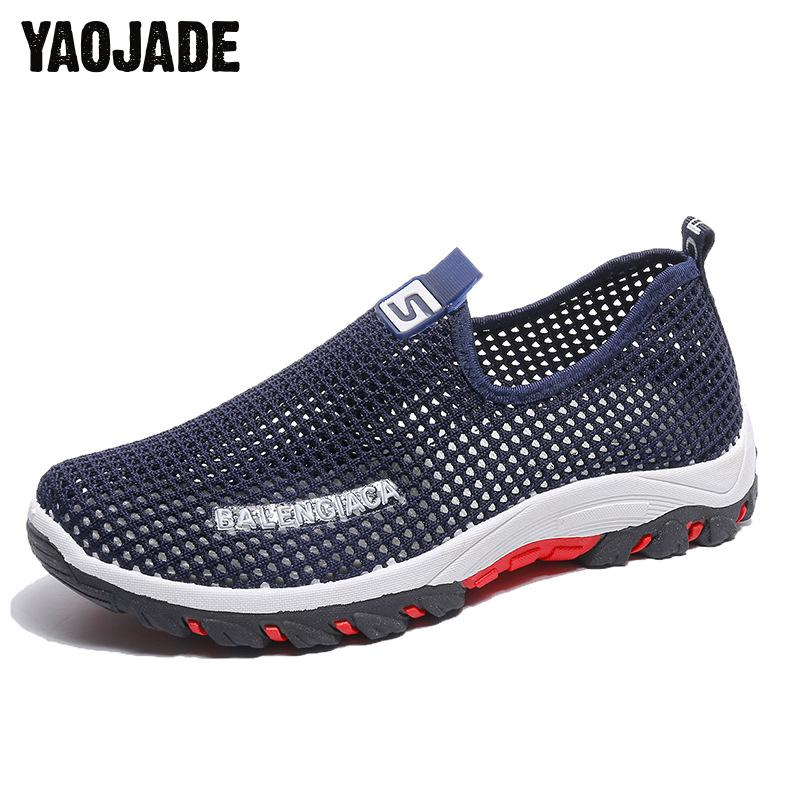 Summer Mesh Shoes Ultra-light Quick-drying Beach Water River Walking Summer Men Breathable Sneakers Outdoor Men Casual Shoes [jamont]polyester women men quick drying summer baseball cap breathable mesh inner snapback hat casual trucker bone casquette