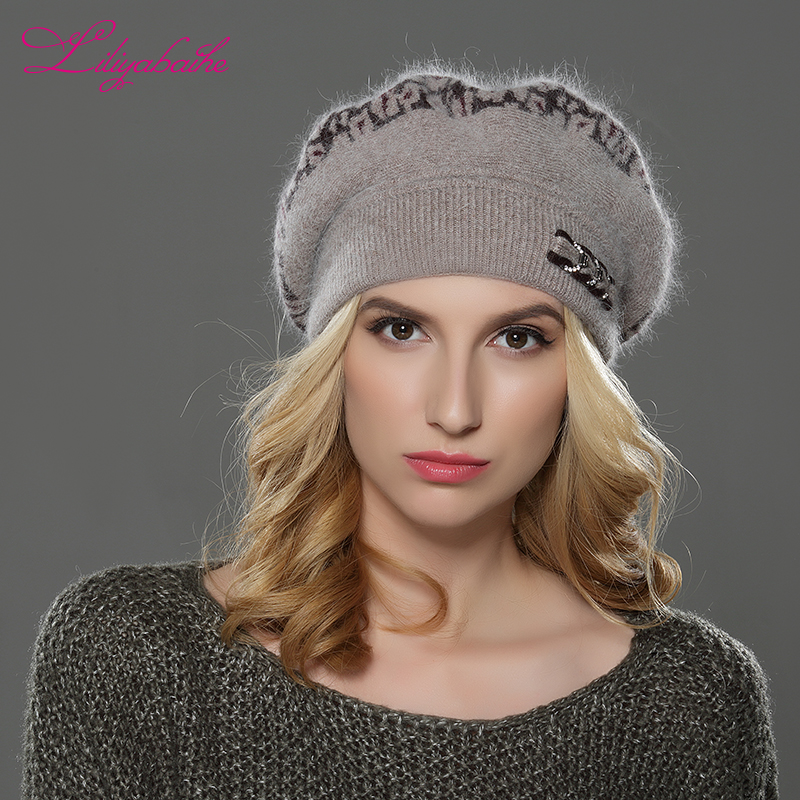 Image 3 - LILIYABAIHE  NEW Style Women winter beret hat knitted wool angora beret  Sttriped Beautifully  decoration cap Double warm hat-in Women's Berets from Apparel Accessories