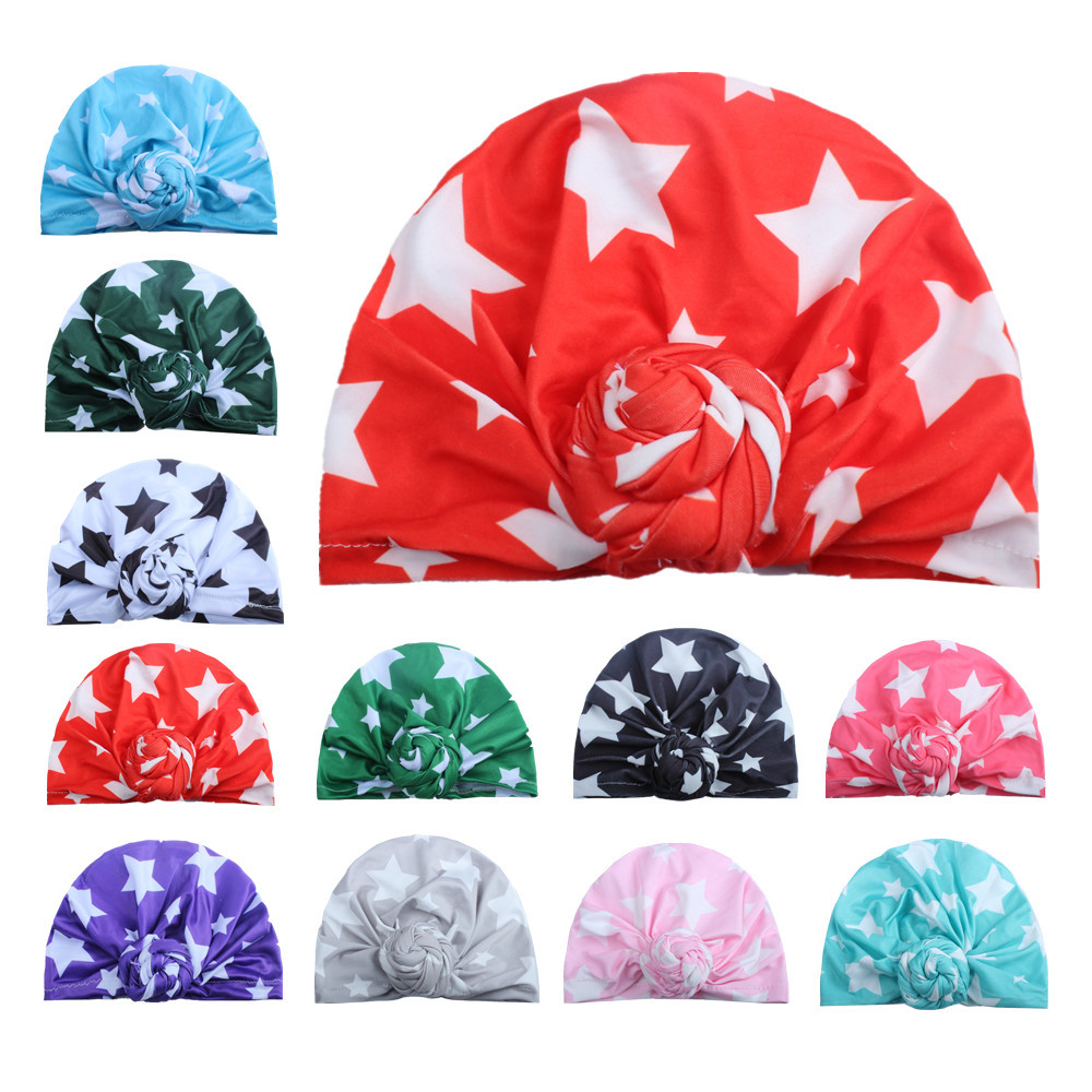 10PCS 2017 New Children Winter Warm Hats India Cap for Kid Turban Hats Star Knot   Skullies     Beanie   Girl Head Wrap Bohemian Cap