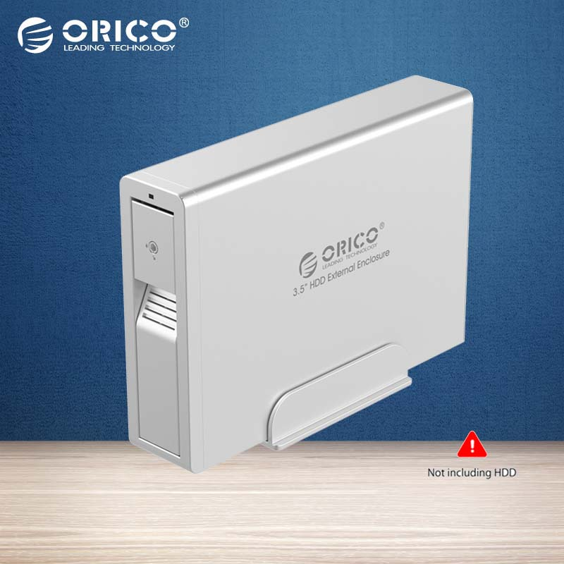 ORICO Aluminum 3.5 USB 3.0 HDD External Enclosure Super Speed Sata HDD Docking Station for Laptop PC -Silver(7618US3)