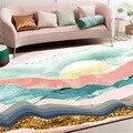 Модный абстракционный коврик порошковый Зеленый пейзаж солнце гостиная Противоскользящий дверной коврик прикроватный коврик для спальни ...