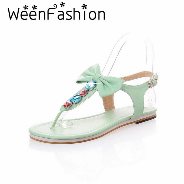 WeenFashion 2016 Summer New Arrival Sweet Women Lady Girl StudentOpen Toe Flat with Sandals Bowtie Solid Casual Soft Leather