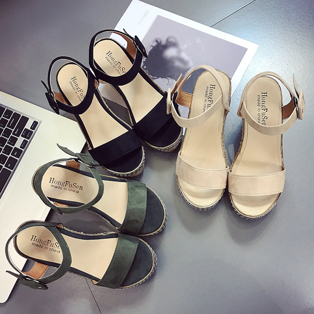 Women Fish Mouth Platform High Heels Wedge Sandals Buckle Slope Sandals Platform Sandals Simple Leisure Sandals Small Fresh цена и фото