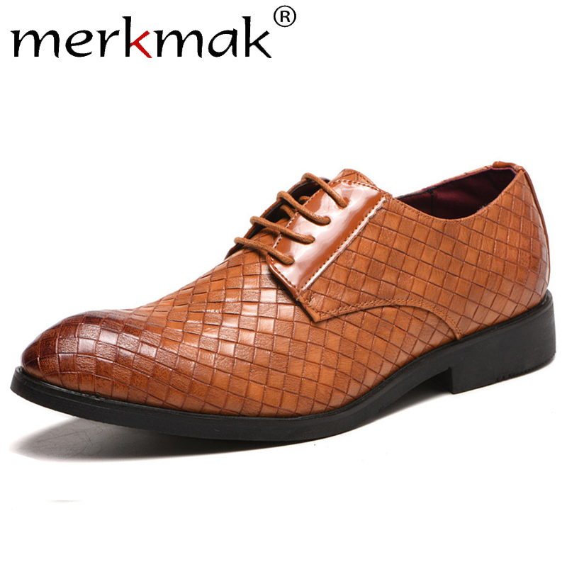 Merkmak Men's Shoes Buiness Casual Big Lace-Up Size38 48 Pointed-Toe Woven-Pattern