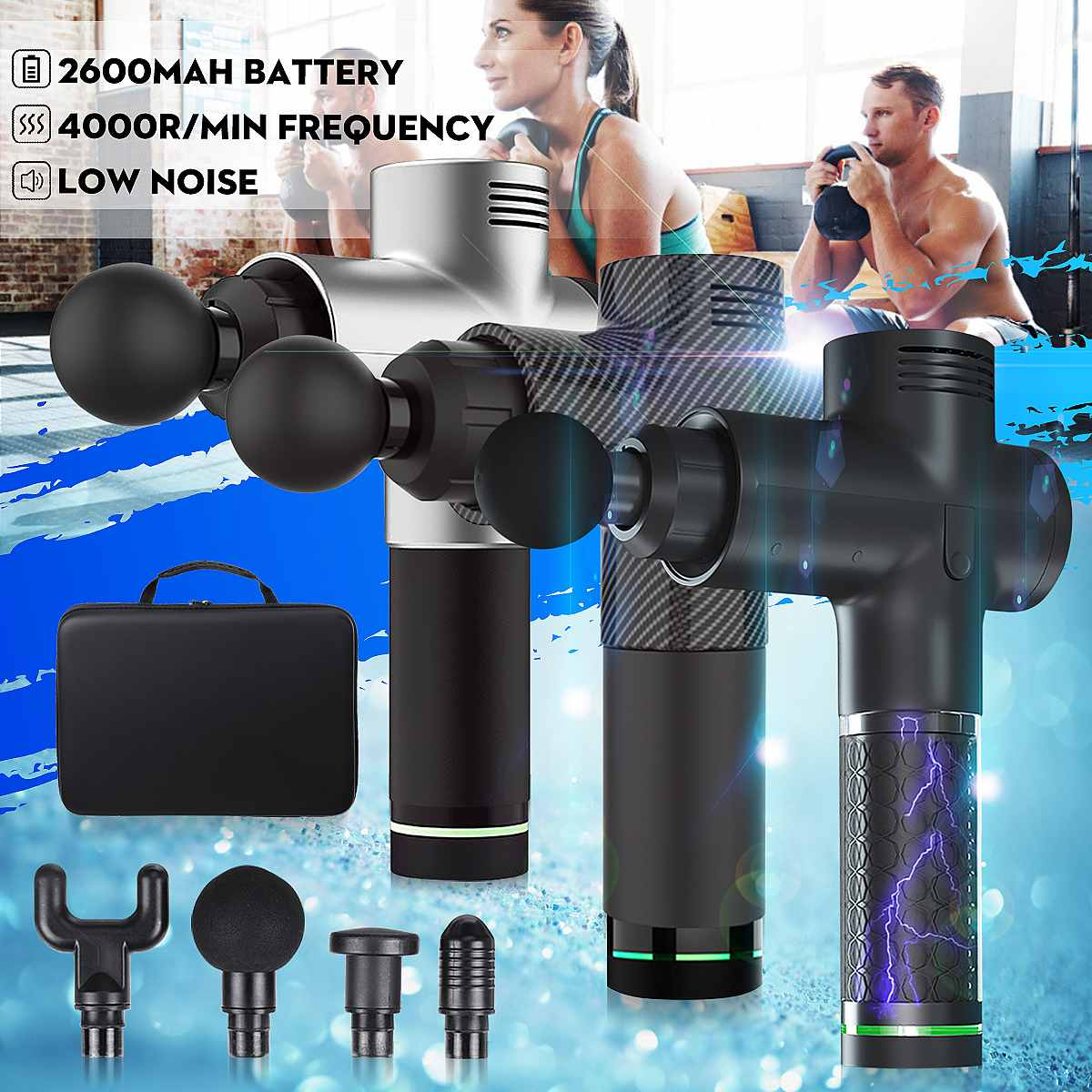 4000r/min LED Indicator Massage Guns 3 Gears Muscle Massager Pain Sport Massage Machine Relax Body Slimming Relief 4 Heads(China)