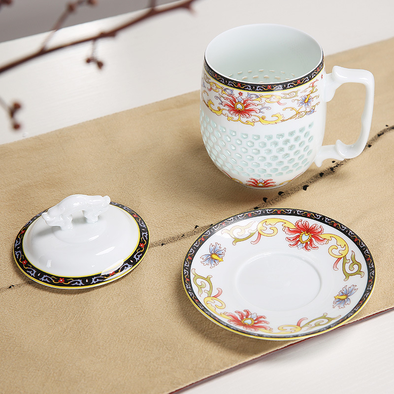a1e09694cd1 US $24.25 35% OFF|450ml Jingdezhen Hollow Honeycomb Glass Ceramic Porcelain  Tea Cup Energy Health Cup Mug Milk Coffee Tea Cup with Lid Saucer-in Mugs  ...