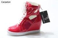 אדומות נשים מכירה חמה הבוהן עגולה עור לבן תחרה עד בחזרה אביב מגפי קרסול רוכסן נעלי טריז קצר קרסול אופנה ספינה חינם