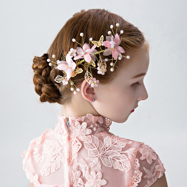 pink flower headpiece for flower girls wedding hair accessories gold color leaves design hair clips barrettes
