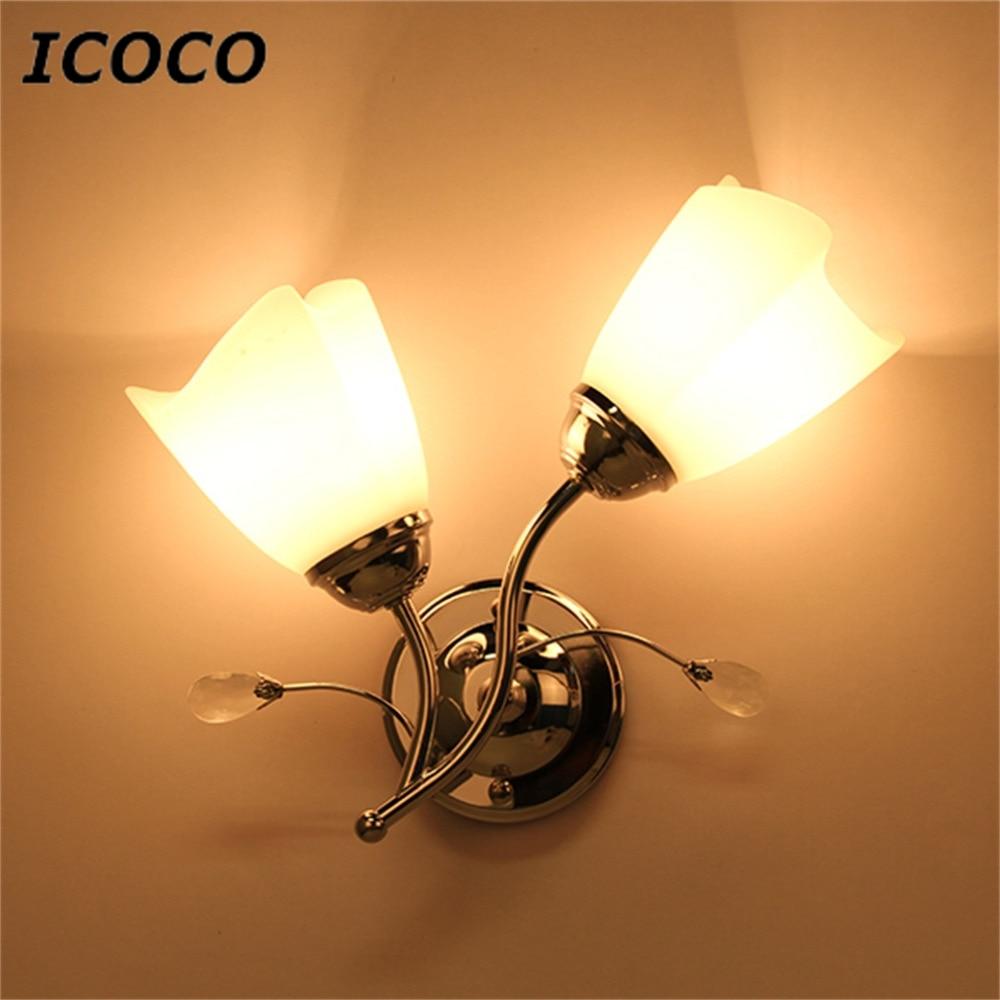 Icoco Single/doppelkopf Wandleuchte Chromstahl Glas Form Wand Licht Flur Wohnzimmer Beleuchtung Lampe Dekoratives Licht Wandleuchten Lampen & Schirme