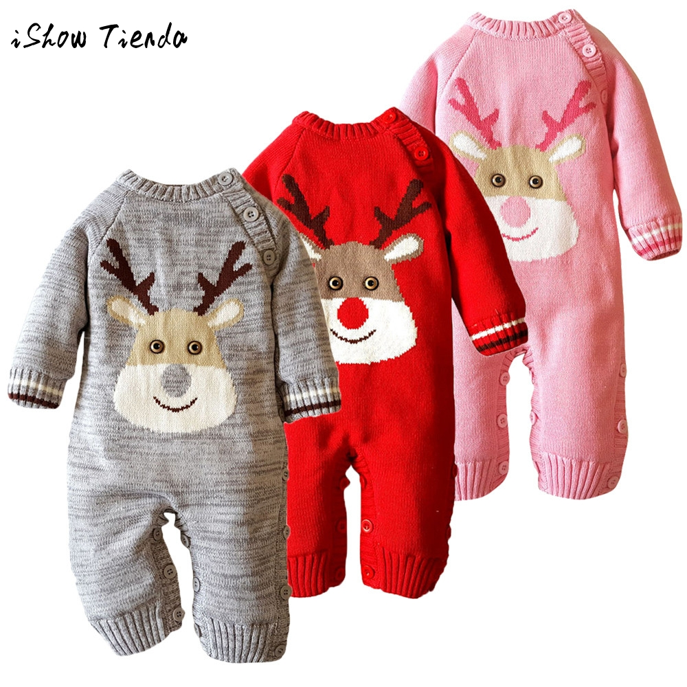 все цены на infant Baby clothes sets Warm long sleeve Rompers Newborn Boy Girl Sweater Christmas costume Deer Plush Hooded Outwear kids suit