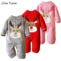 infant Baby clothes sets Warm long sleeve Rompers Newborn Boy Girl Sweater Christmas costume Deer Plush Hooded Outwear kids suit
