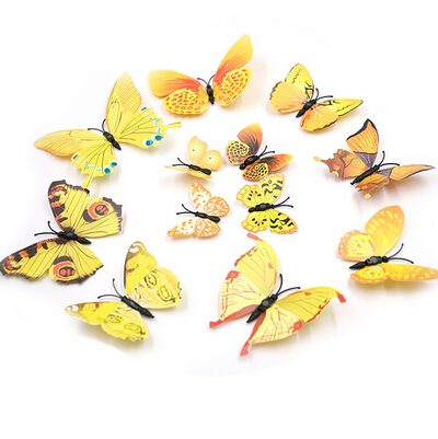 8 Colors 12pcs/lot Butterflies Docors Art Stickers 3D Butterfly Wall ...