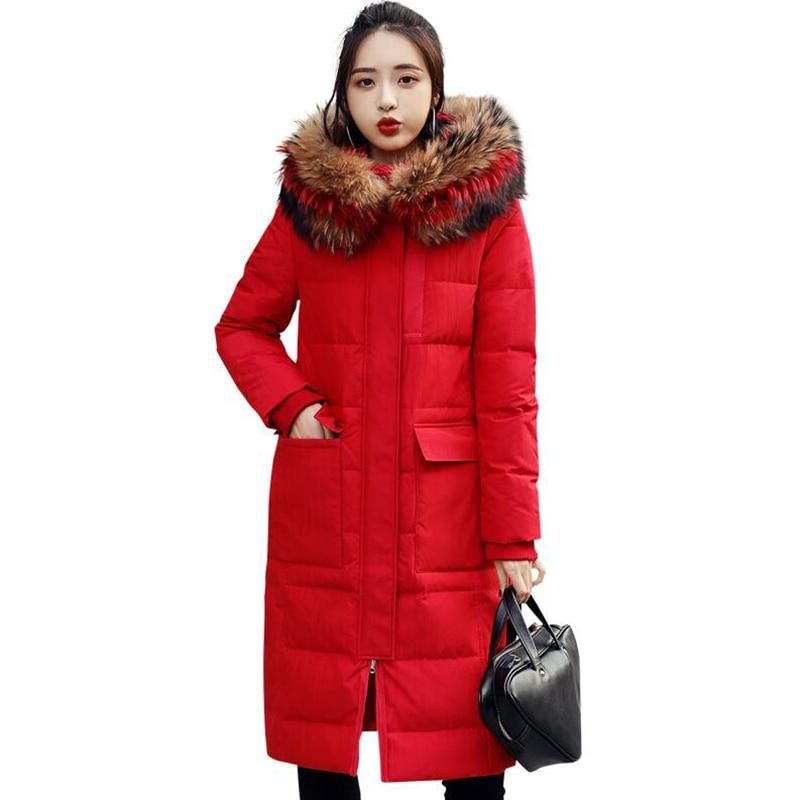 2018 Winter Jacket Women   Down   Jacket Real fur collar Hooded   Down     Coat   Women's Long Outerwear Thicken 90% Duck   Down     Coats   Parka