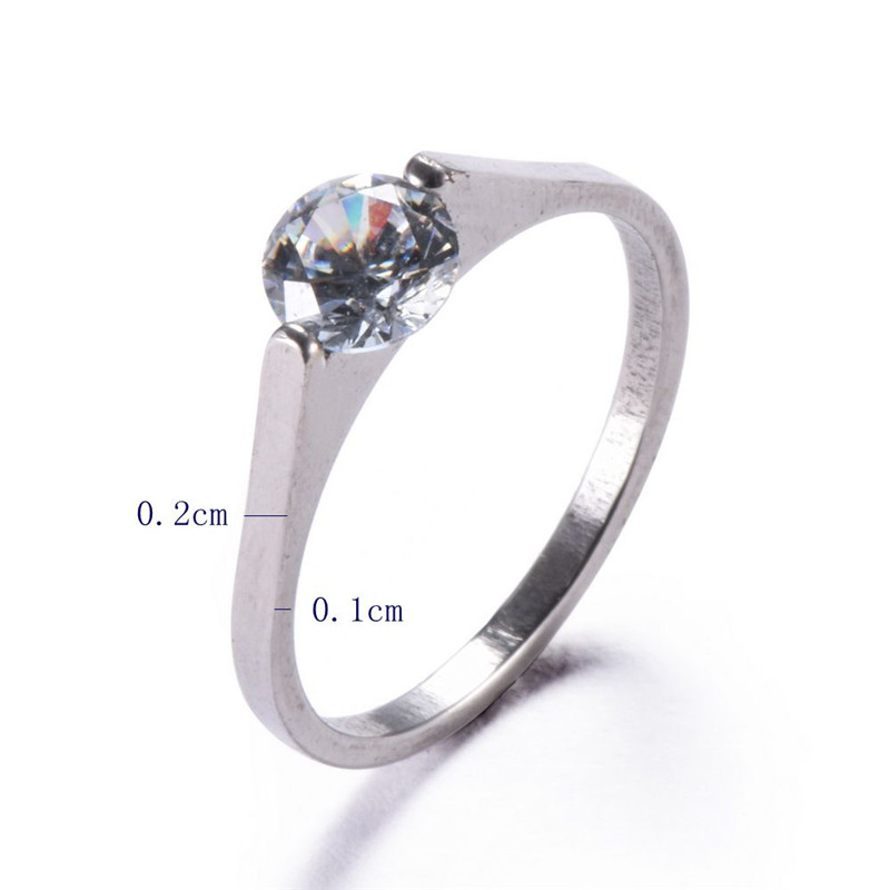 1 PC Women/Men Exquisite Wedding Ring Zircon Rings Thin Rings Stainless Steel Bagues Anillo Charm Jewelry Anelli Donna Ring Men